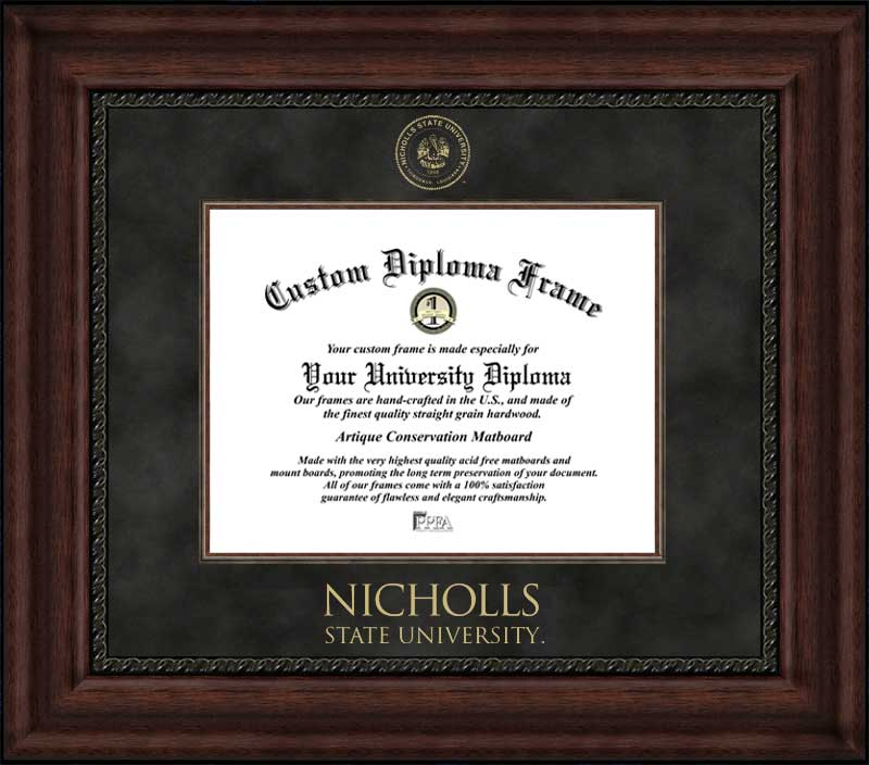 College - Nicholls State University Colonels - Embossed Seal - Suede Mat - Mahogany - Diploma Frame