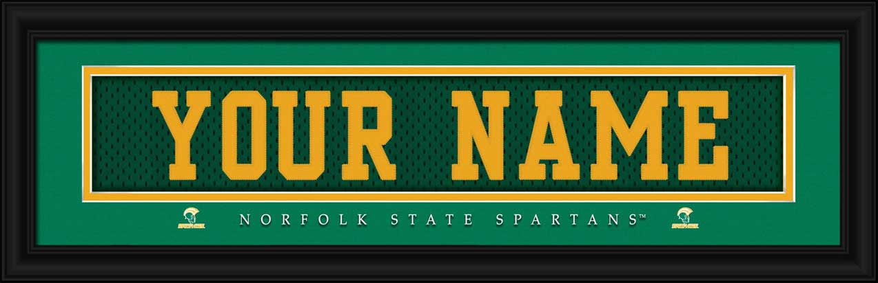 College - Norfolk State Spartans - Personalized Jersey Nameplate - Framed Picture