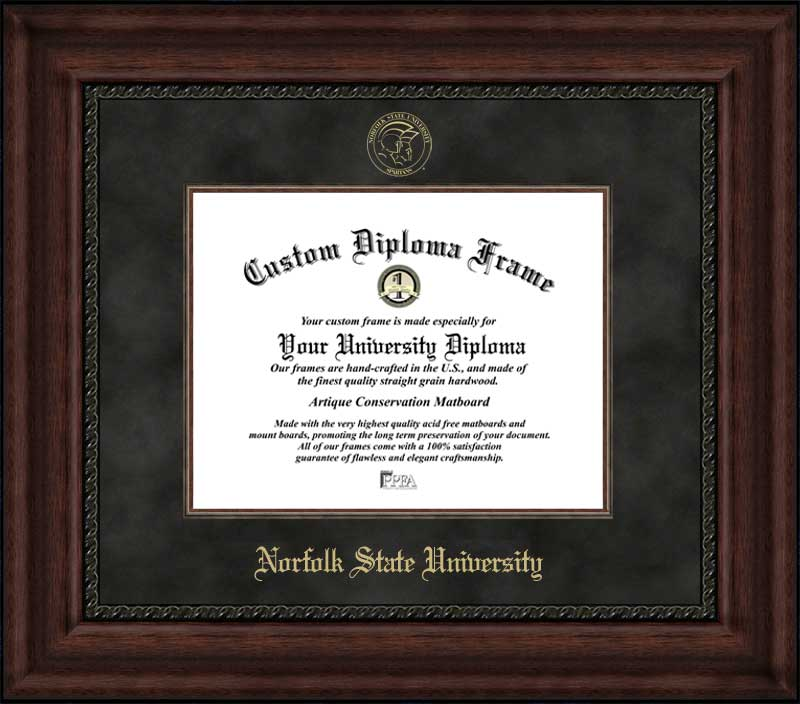 College - Norfolk State University Spartans - Embossed Seal - Suede Mat - Mahogany - Diploma Frame