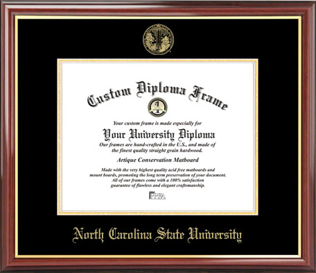 College - North Carolina State University Wolfpack - Embossed Seal - Mahogany Gold Trim - Diploma Frame