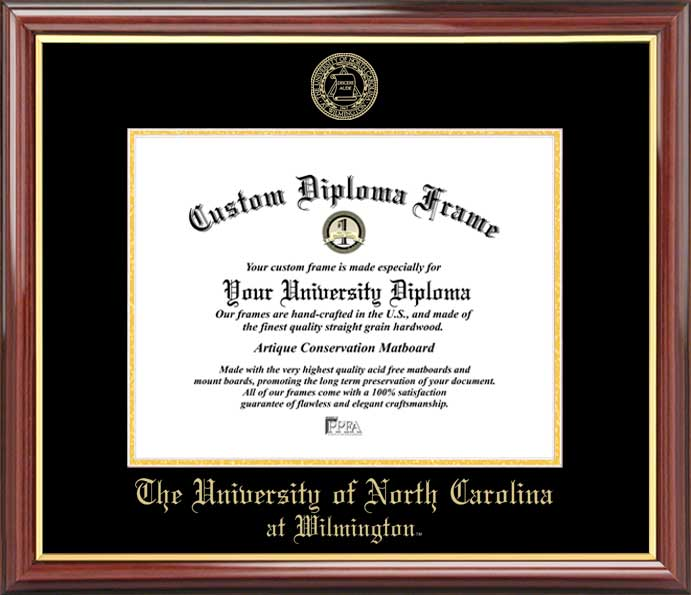 College - University of North Carolina Wilmington Seahawks - Embossed Seal - Mahogany Gold Trim - Diploma Frame