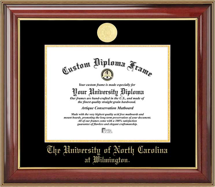 College - University of North Carolina Wilmington Seahawks - Gold Medallion - Mahogany Gold Trim - Diploma Frame