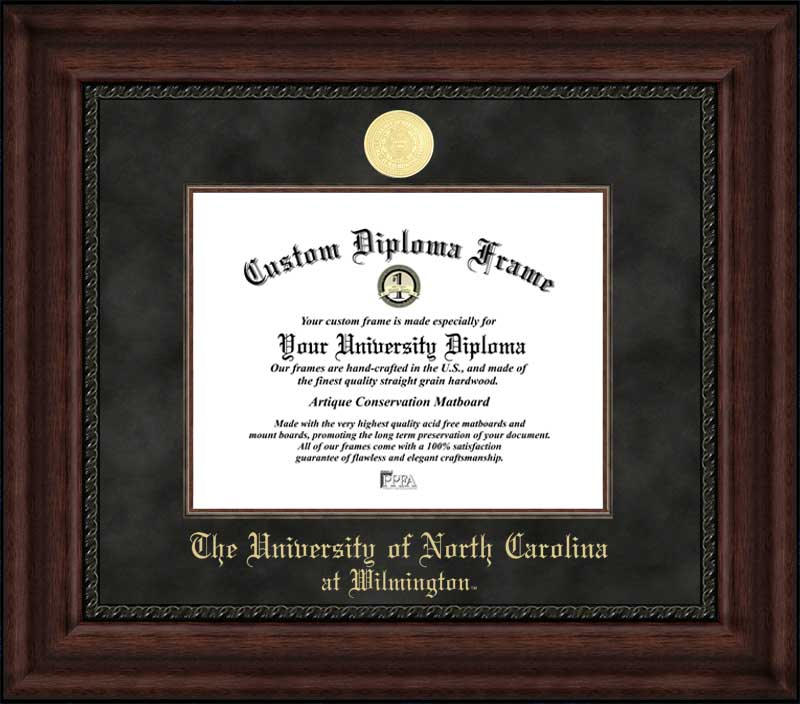 College - University of North Carolina Wilmington Seahawks - Gold Medallion - Suede Mat - Mahogany - Diploma Frame