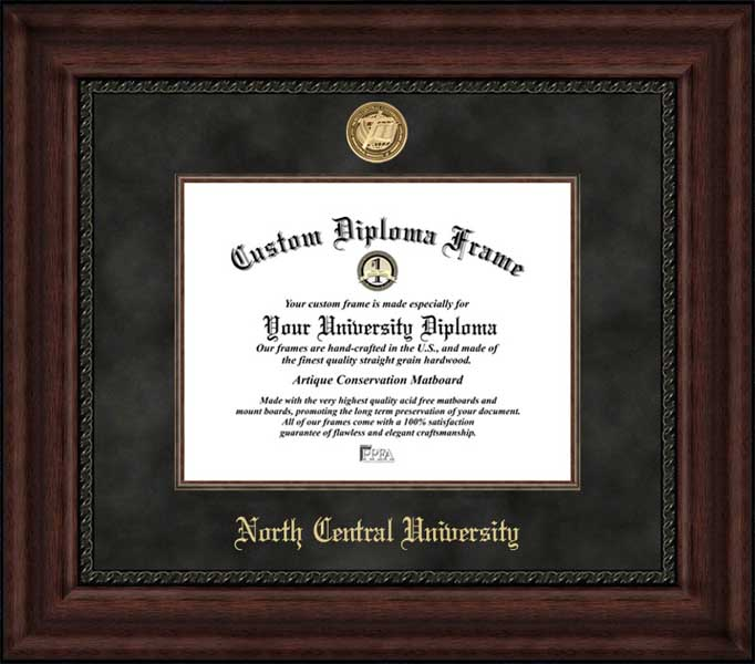 College - North Central University Rams - Gold Medallion - Suede Mat - Mahogany - Diploma Frame