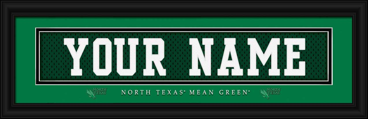 College - North Texas Mean Green - Personalized Jersey Nameplate - Framed Picture