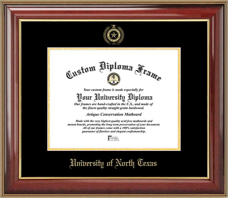 College - University of North Texas Mean Green - Embossed Seal - Mahogany Gold Trim - Diploma Frame