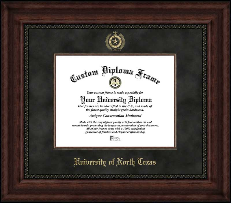 College - University of North Texas Mean Green - Embossed Seal - Suede Mat - Mahogany - Diploma Frame