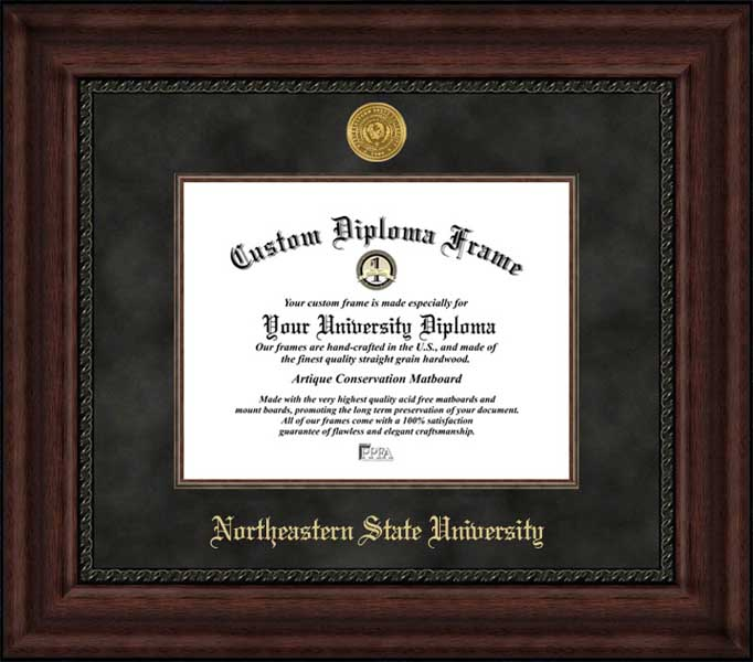 College - Northeastern State University RiverHawks - Gold Medallion - Suede Mat - Mahogany - Diploma Frame