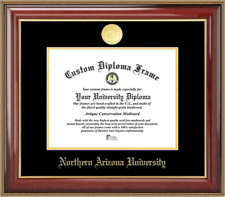 College - Northern Arizona University Lumberjacks - Gold Medallion - Mahogany Gold Trim - Diploma Frame