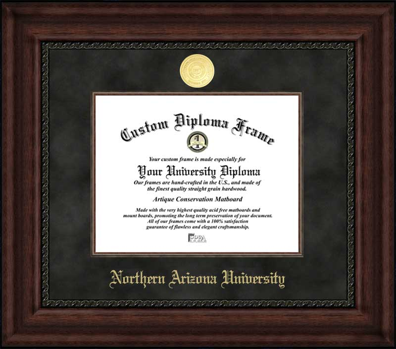 College - Northern Arizona University Lumberjacks - Gold Medallion - Suede Mat - Mahogany - Diploma Frame