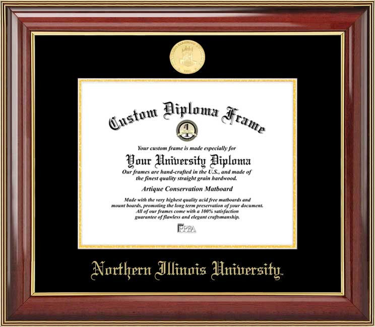 College - Northern Illinois University Huskies - Gold Medallion - Mahogany Gold Trim - Diploma Frame