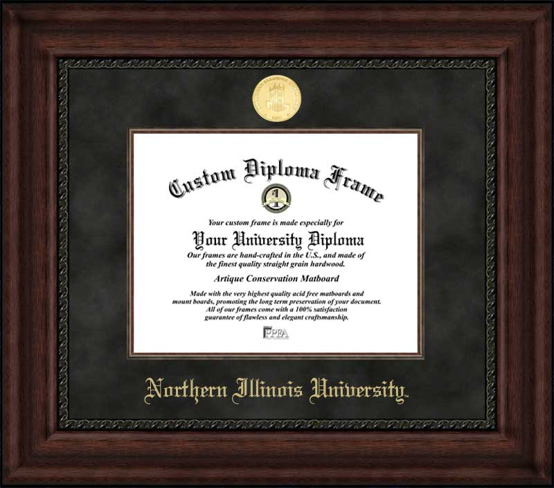College - Northern Illinois University Huskies - Gold Medallion - Suede Mat - Mahogany - Diploma Frame