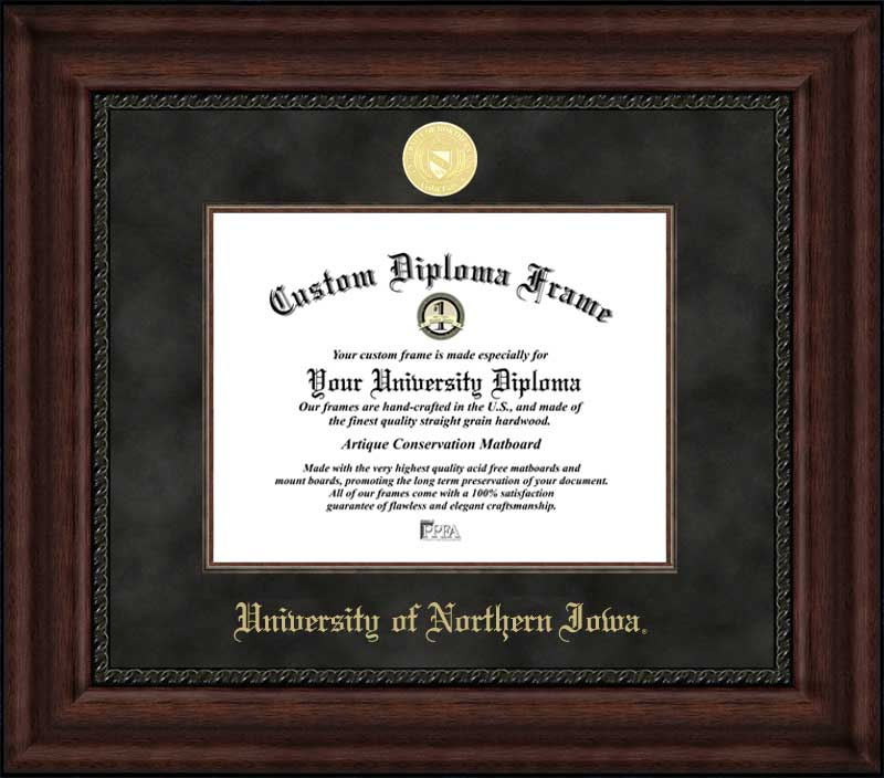 College - University of Northern Iowa Panthers - Gold Medallion - Suede Mat - Mahogany - Diploma Frame