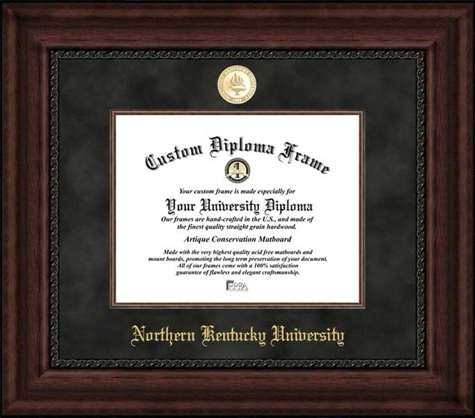 College - Northern Kentucky University Norse - Gold Medallion - Suede Mat - Mahogany - Diploma Frame