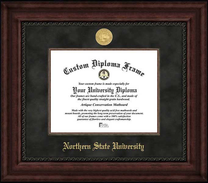 College - Northern State University Wolves - Gold Medallion - Suede Mat - Mahogany - Diploma Frame