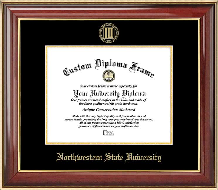College - Northwestern State University Demons - Embossed Seal - Mahogany Gold Trim - Diploma Frame