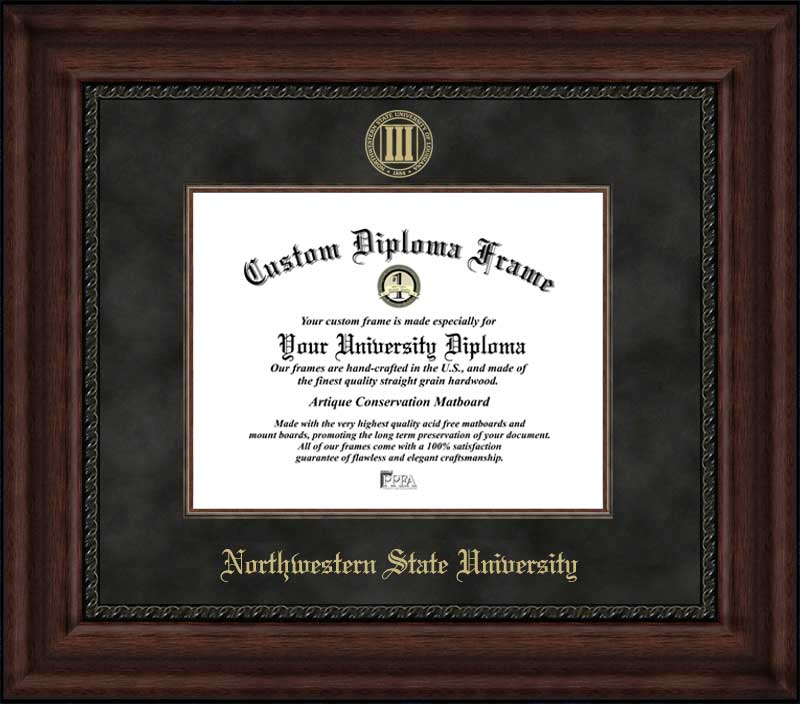 College - Northwestern State University Demons - Embossed Seal - Suede Mat - Mahogany - Diploma Frame
