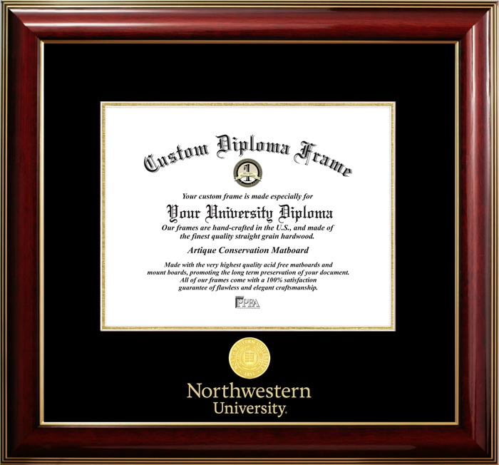 College - Northwestern University Wildcats - Gold Medallion - Mahogany Gold Trim - Diploma Frame