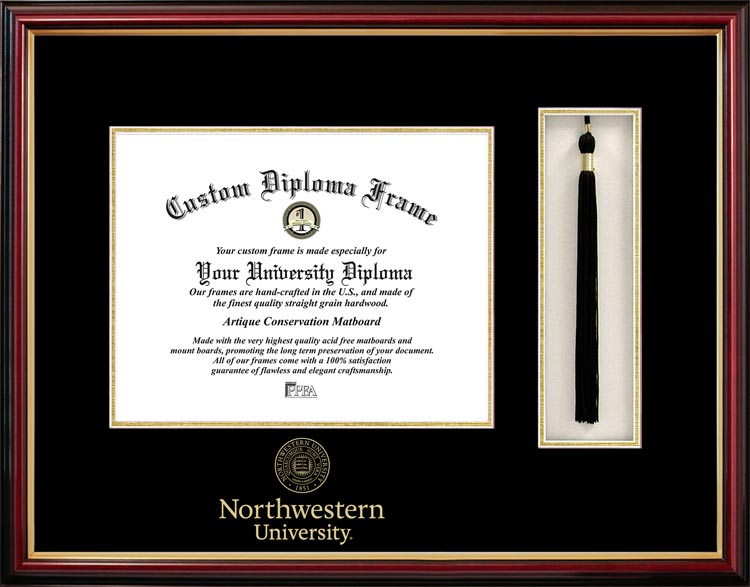 College - Northwestern University Wildcats - Embossed Seal - Tassel Box - Mahogany - Diploma Frame