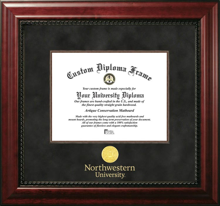 College - Northwestern University Wildcats - Gold Medallion - Suede Mat - Mahogany - Diploma Frame