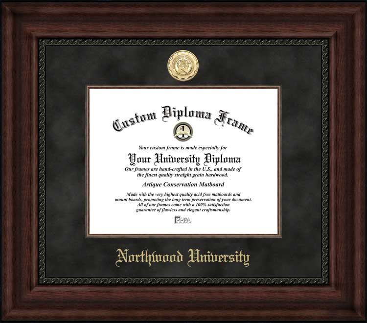 College - Northwood University-Texas Knights - Gold Medallion - Suede Mat - Mahogany - Diploma Frame