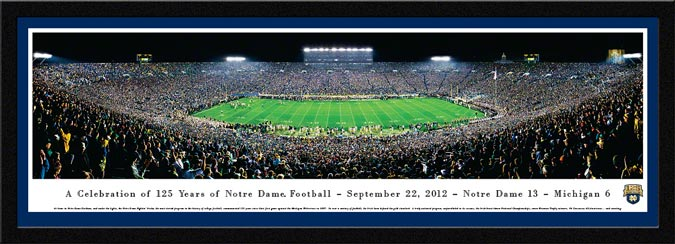 College - Notre Dame Fighting Irish - 125 Years - Night Game 2012 - Framed Picture