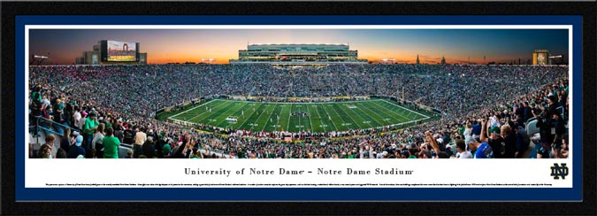 College - Notre Dame Fighting Irish - Notre Dame Stadium - Twilight - Framed Picture