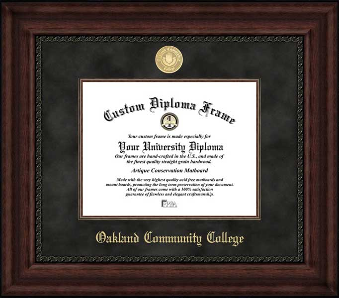 College - Oakland Community College Raiders - Gold Medallion - Suede Mat - Mahogany - Diploma Frame