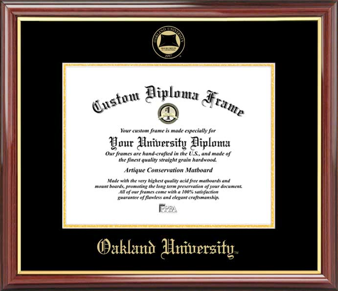 College - Oakland University Golden Grizzlies - Embossed Seal - Mahogany Gold Trim - Diploma Frame