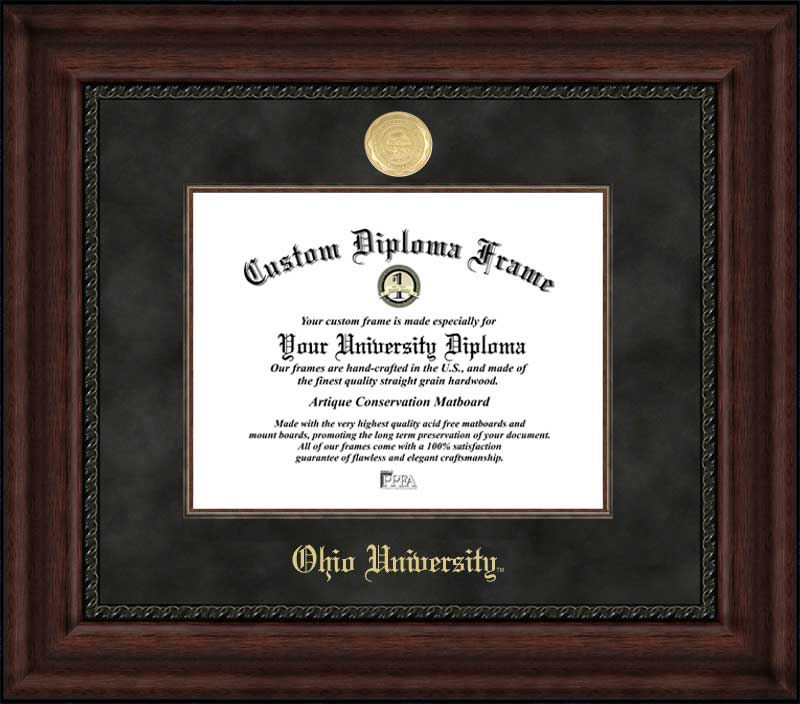 College - Ohio University Bobcats - Gold Medallion - Suede Mat - Mahogany - Diploma Frame