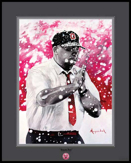 College - Ohio State Buckeyes - Woody Hayes in the Snow Painting - Framed Picture