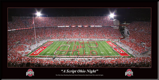 College - Ohio State Buckeyes - A Script Ohio Night - TBDBITL - Lg - Framed Picture