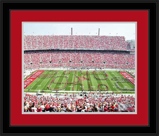 College - Ohio State Buckeyes - Marching Band - Quad Script Ohio - Framed Picture