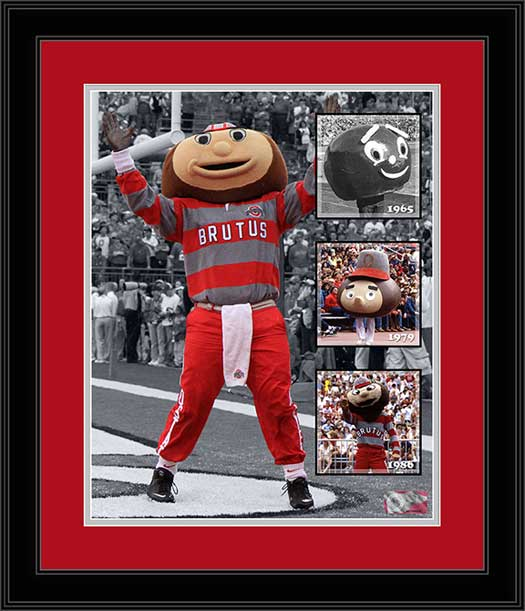 College - Ohio State Buckeyes - Brutus Buckeye - History - Framed Picture