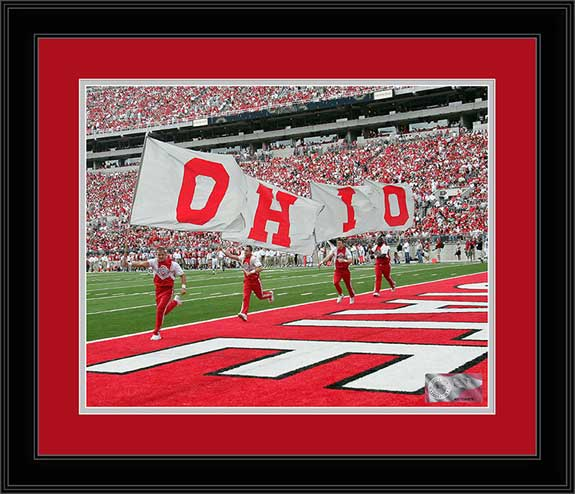 College - Ohio State Buckeyes - Ohio State Cheerleaders - OHIO Flags - Framed Picture