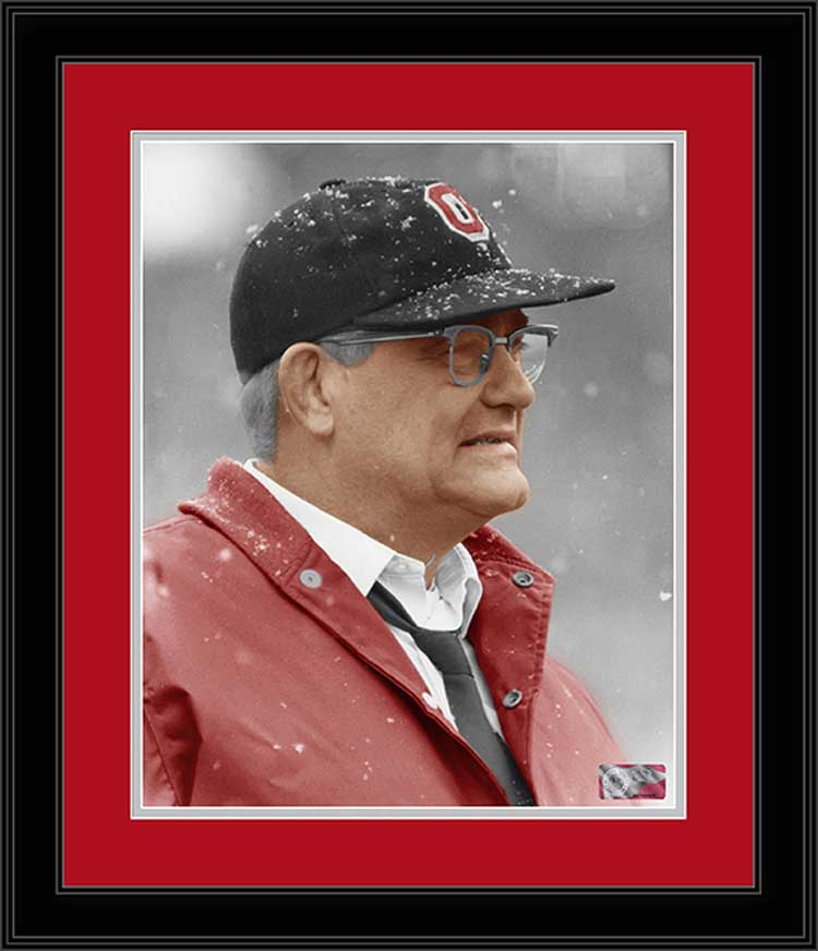 College - Ohio State Buckeyes - Woody Hayes - Snow - Colorized - Framed Picture