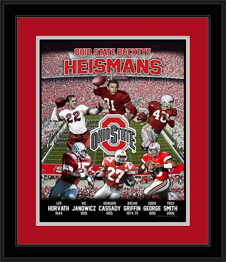 College - Ohio State Buckeyes - Heisman Trophy Winners - Six - Framed Print