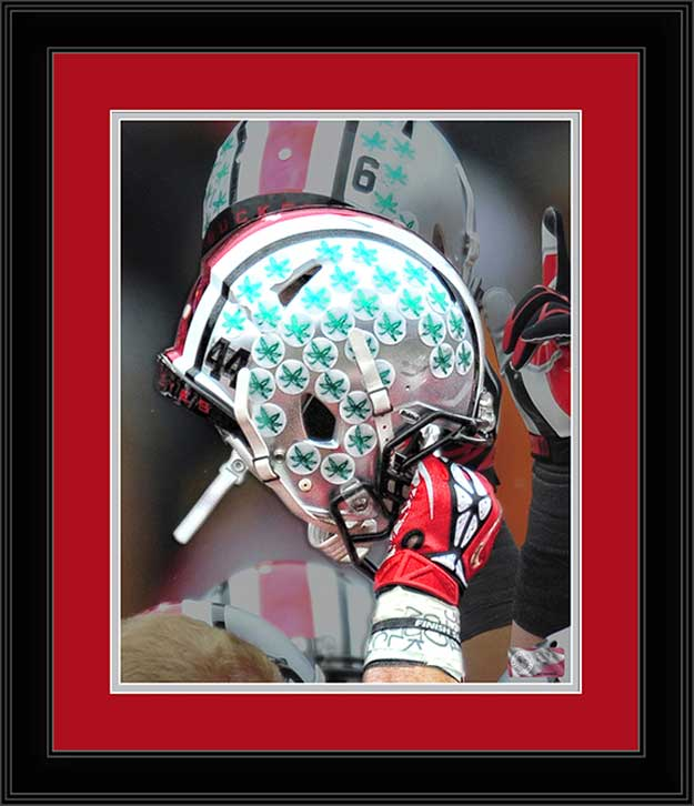 College - Ohio State Buckeyes - Helmets - Number 44 - Celebration - Framed Picture