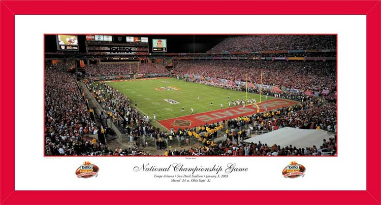 College - Ohio State Buckeyes - 2002 Football National Champs - Red - Framed Picture