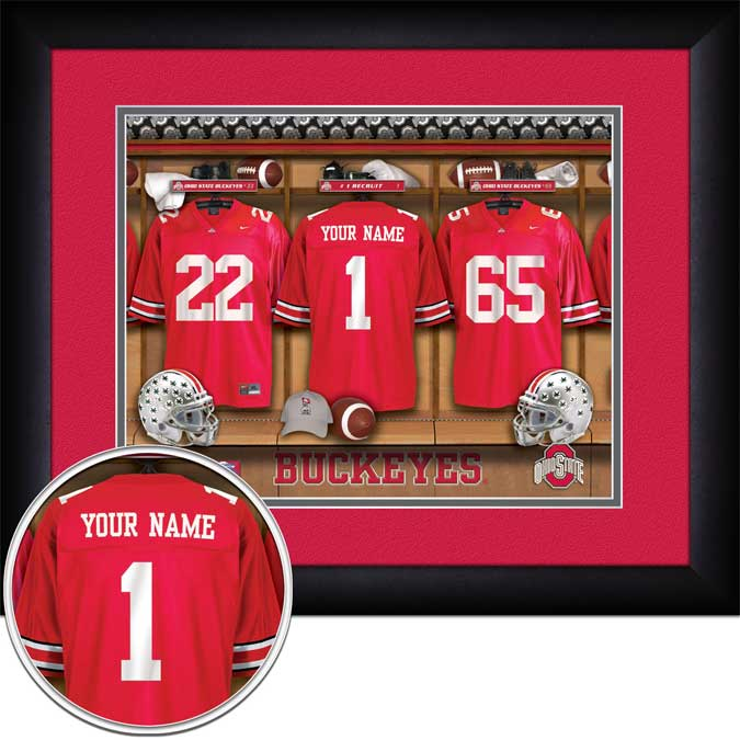 College - Ohio State Buckeyes - Personalized Locker Room - Framed Picture