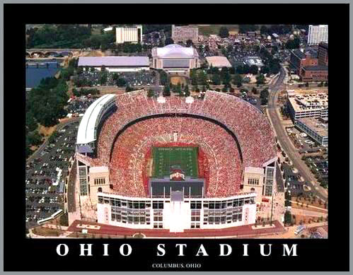 College - Ohio State Buckeyes - Ohio Stadium Aerial - Sm - Plaque Mounted & Laminated Print