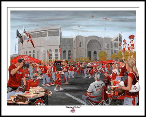 Ohio State Buckeyes Wood Mounted Poster Print Tailgating