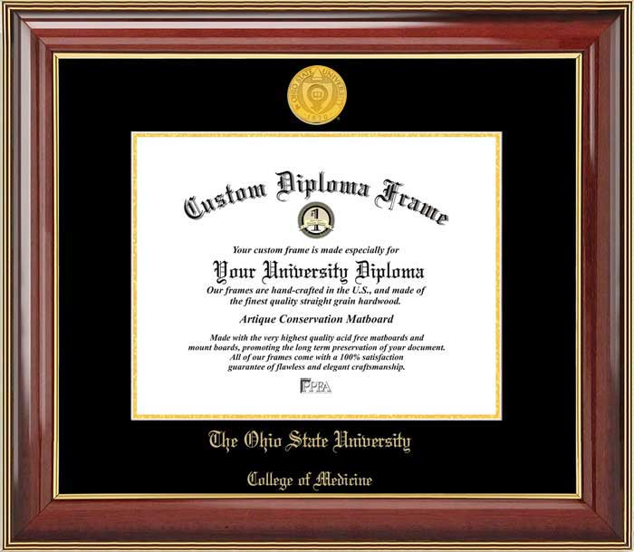 College - Ohio State University College of Medicine Buckeyes - Gold Medallion - Mahogany Gold Trim - Diploma Frame