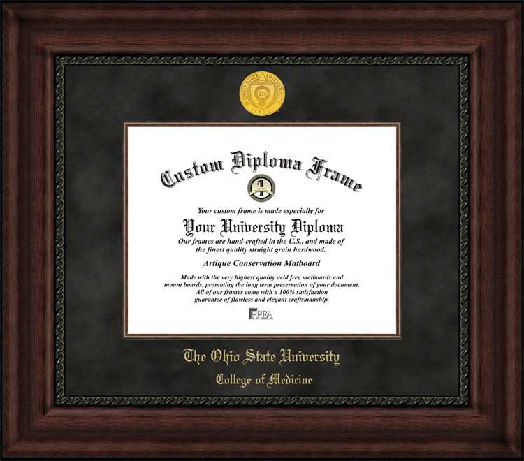 College - Ohio State University College of Medicine Buckeyes - Gold Medallion - Suede Mat - Mahogany - Diploma Frame