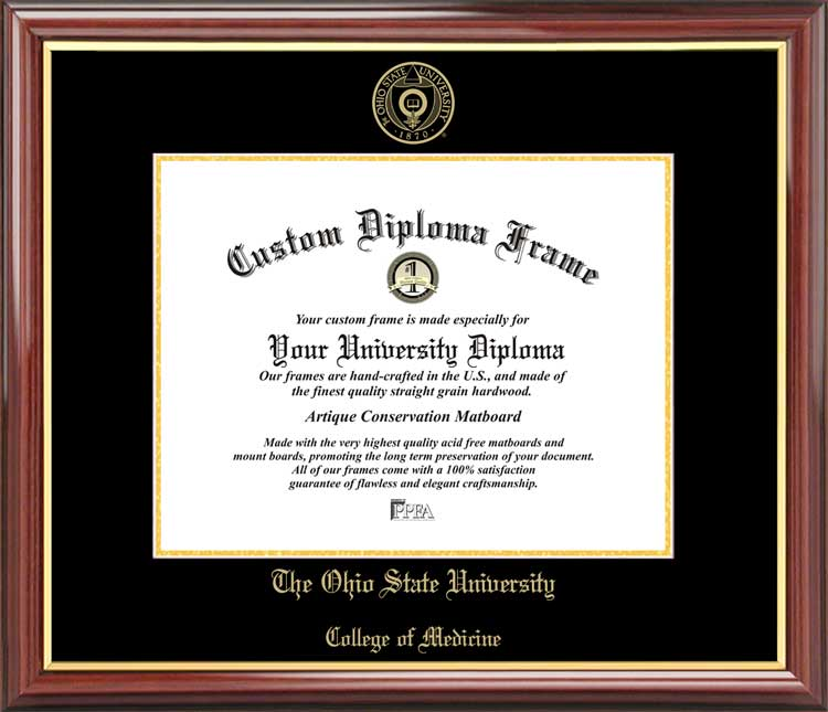 College - Ohio State University College of Medicine Buckeyes - Embossed Seal - Mahogany Gold Trim - Diploma Frame