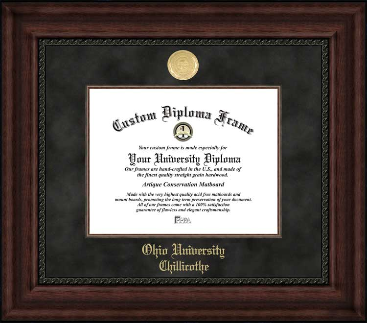 College - Ohio University-Chillicothe Hilltoppers - Gold Medallion - Suede Mat - Mahogany - Diploma Frame