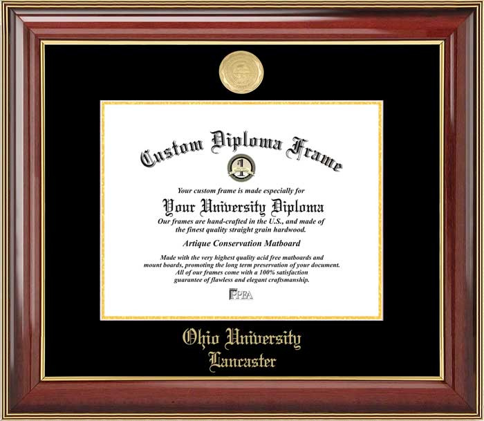College - Ohio University Lancaster  - Gold Medallion - Mahogany Gold Trim - Diploma Frame