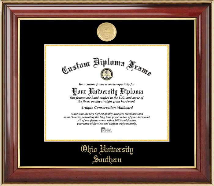 College - Ohio University Southern Trailblazers - Gold Medallion - Mahogany Gold Trim - Diploma Frame