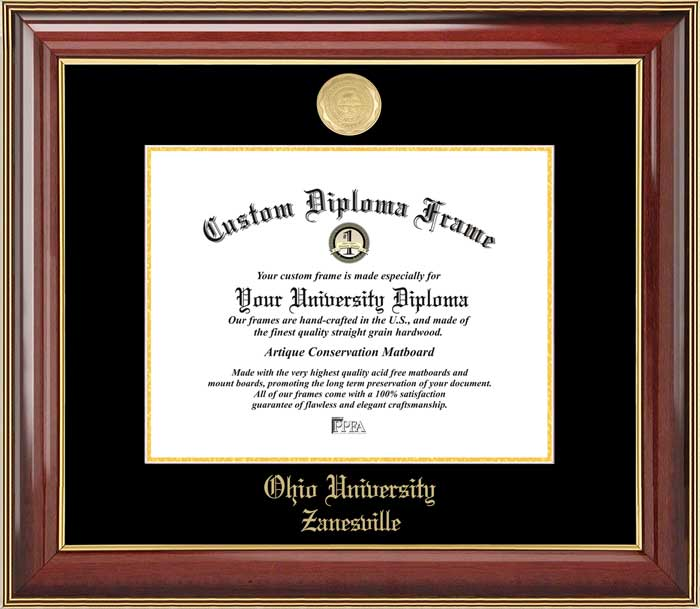 College - Ohio University Zanesville  - Gold Medallion - Mahogany Gold Trim - Diploma Frame
