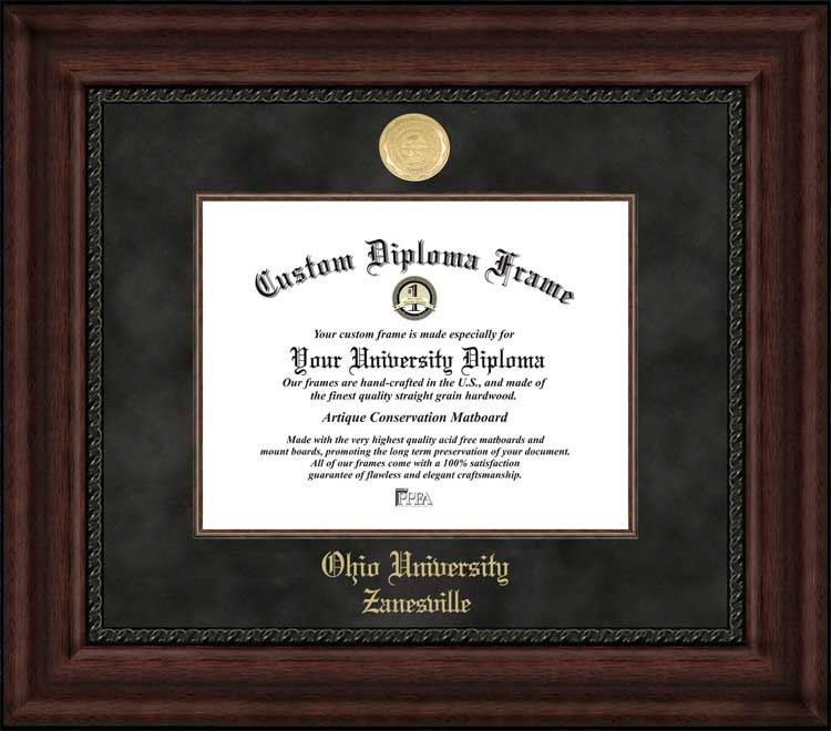 College - Ohio University Zanesville  - Gold Medallion - Suede Mat - Mahogany - Diploma Frame